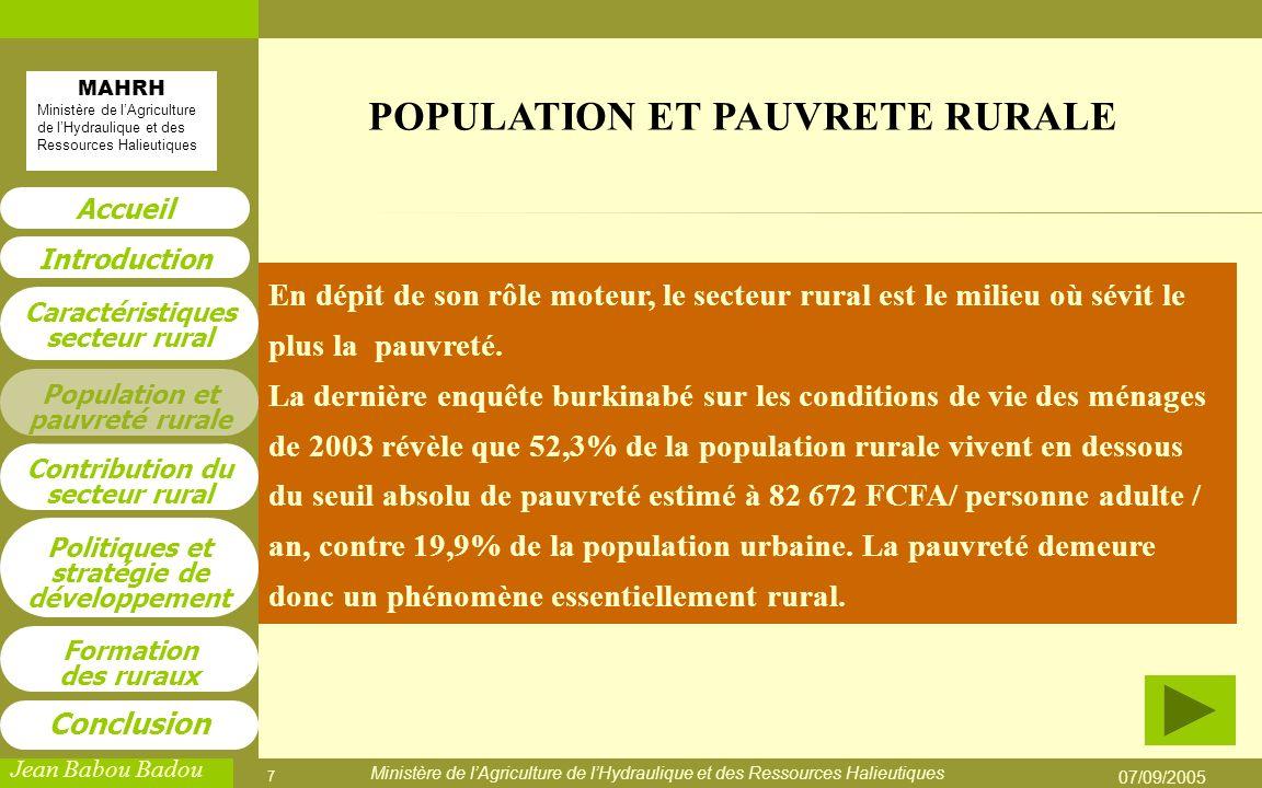 POPULATION ET PAUVRETE RURALE