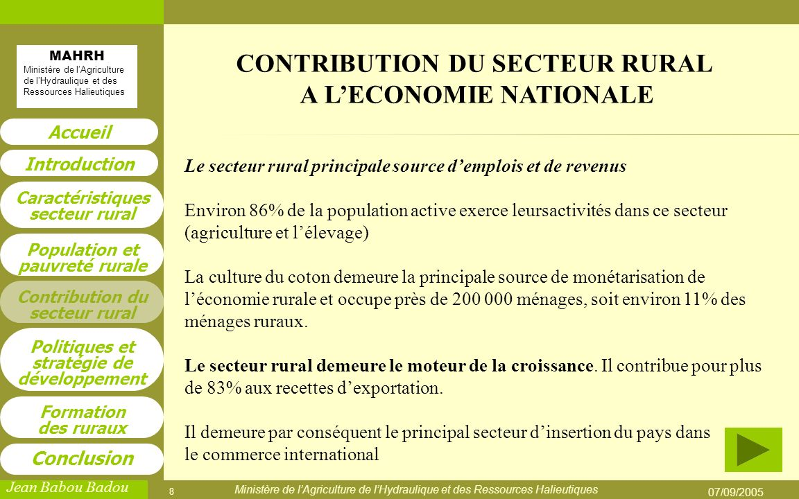 CONTRIBUTION DU SECTEUR RURAL A L'ECONOMIE NATIONALE