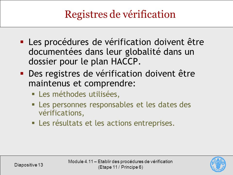 Registres de vérification