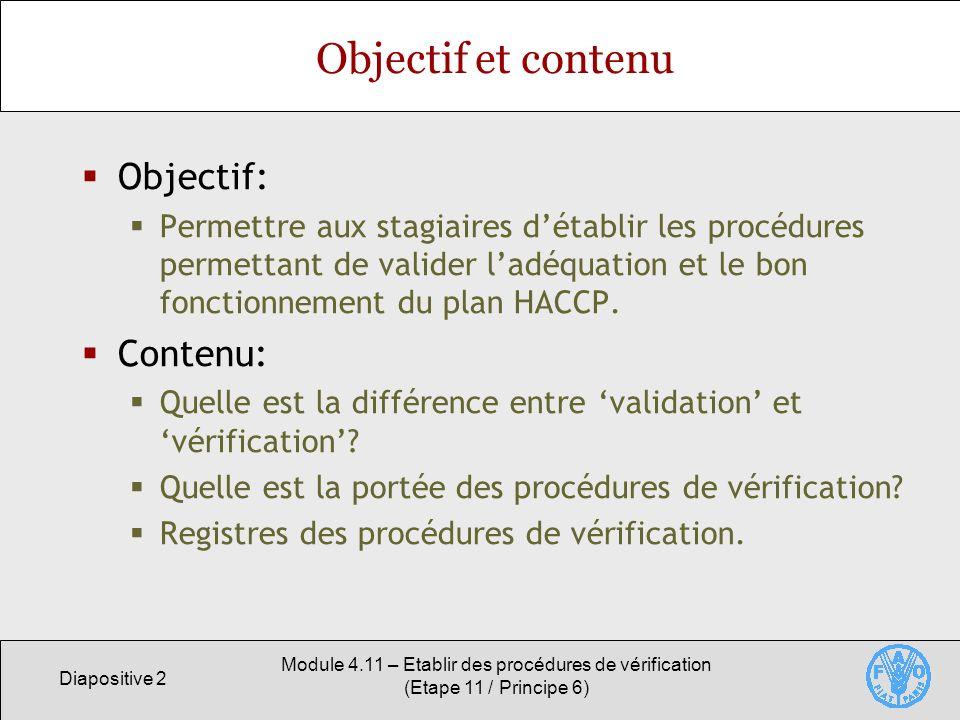 Objectif et contenu Objectif: Contenu: