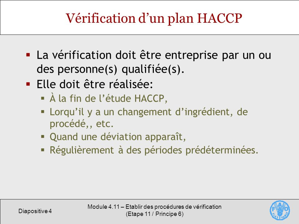 Vérification d'un plan HACCP