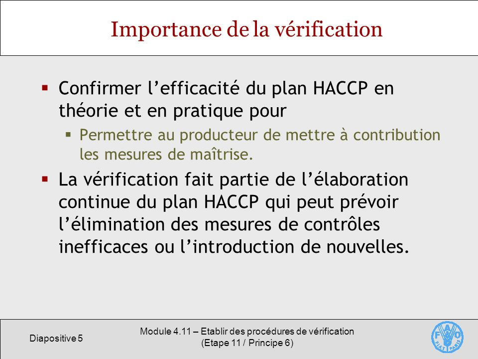 Importance de la vérification