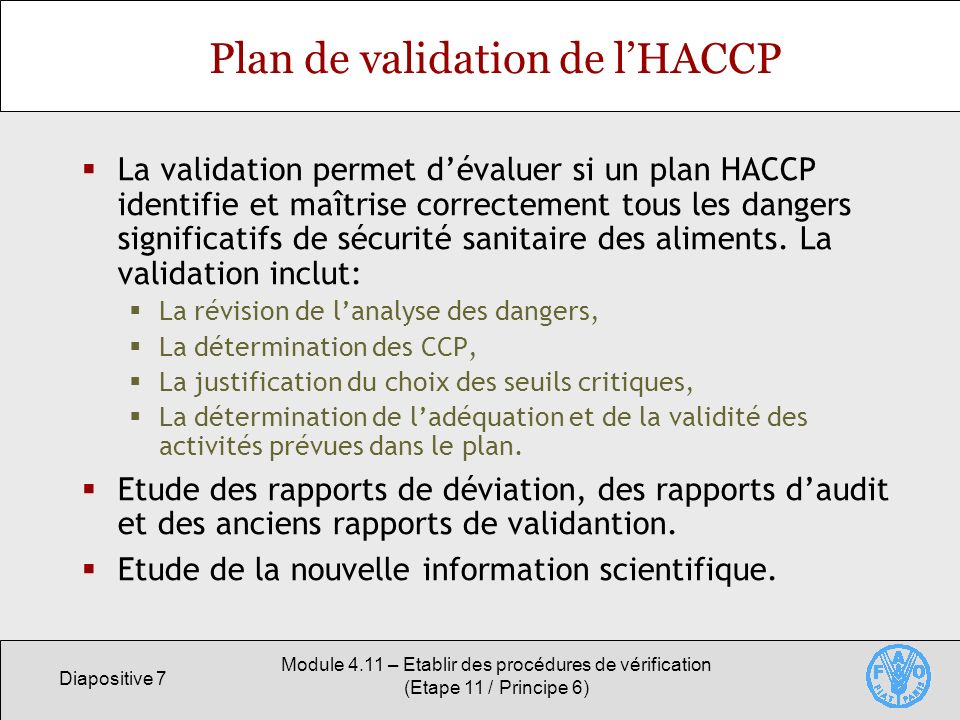 Plan de validation de l'HACCP