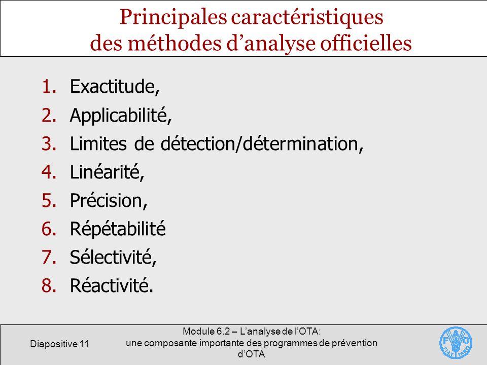 Principales caractéristiques des méthodes d'analyse officielles