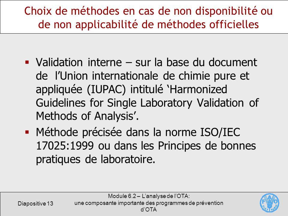 Choix de méthodes en cas de non disponibilité ou de non applicabilité de méthodes officielles