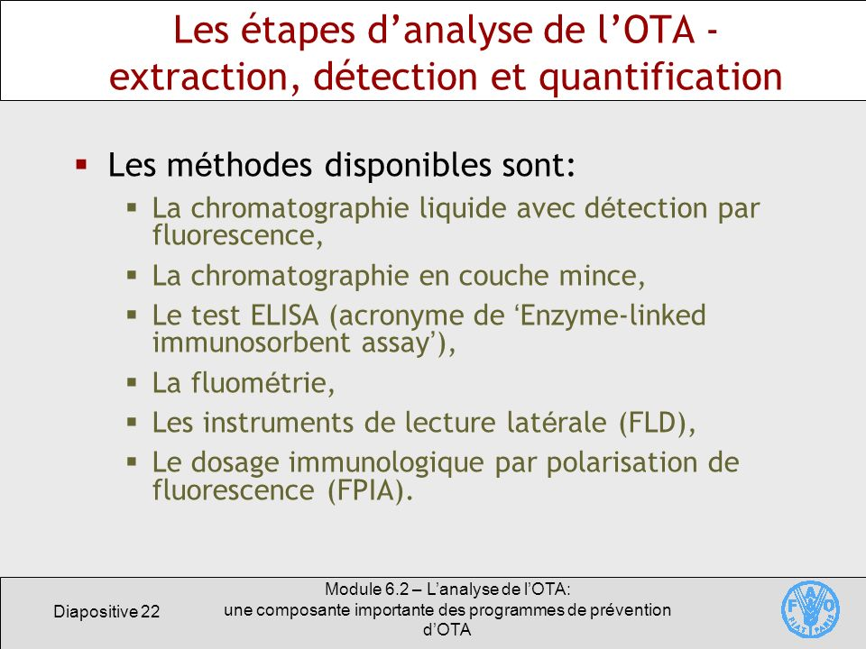 Les étapes d'analyse de l'OTA - extraction, détection et quantification