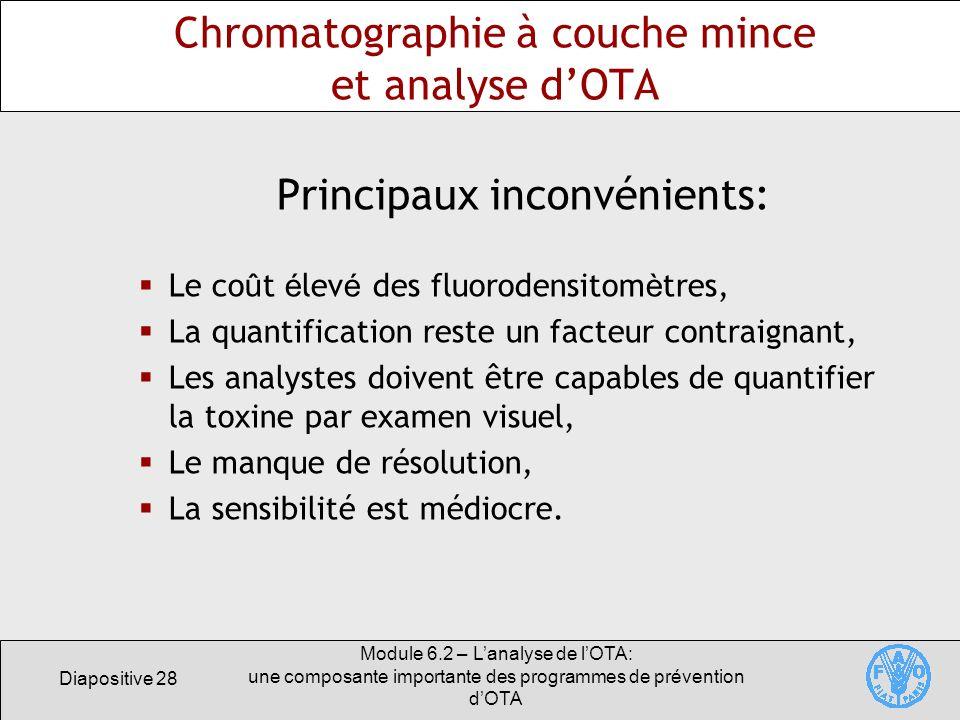Chromatographie à couche mince et analyse d'OTA