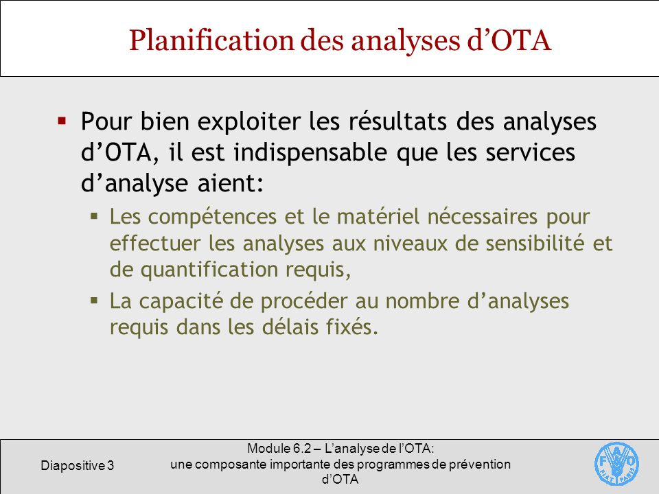 Planification des analyses d'OTA