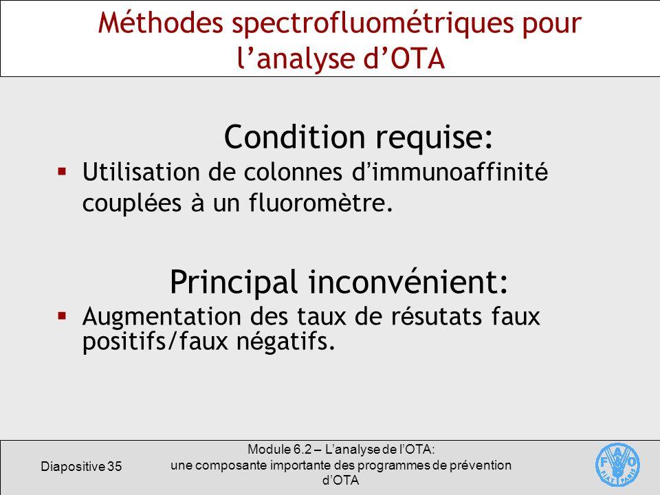 Méthodes spectrofluométriques pour l'analyse d'OTA