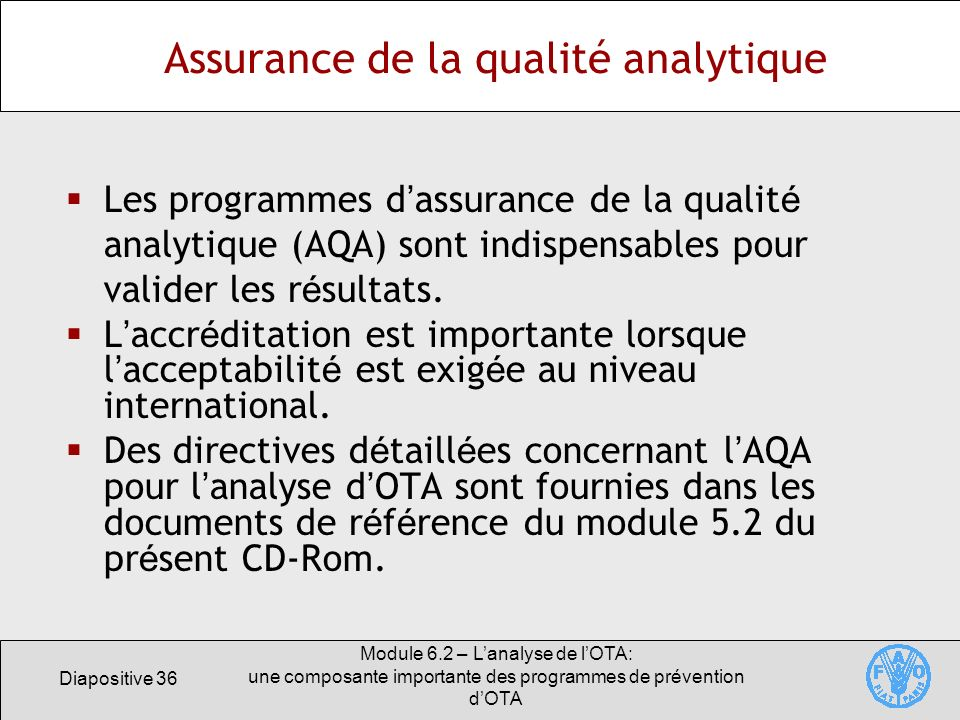 Assurance de la qualité analytique