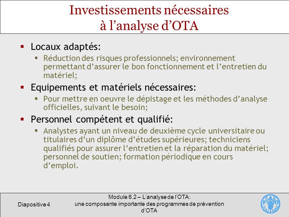 Investissements nécessaires à l'analyse d'OTA