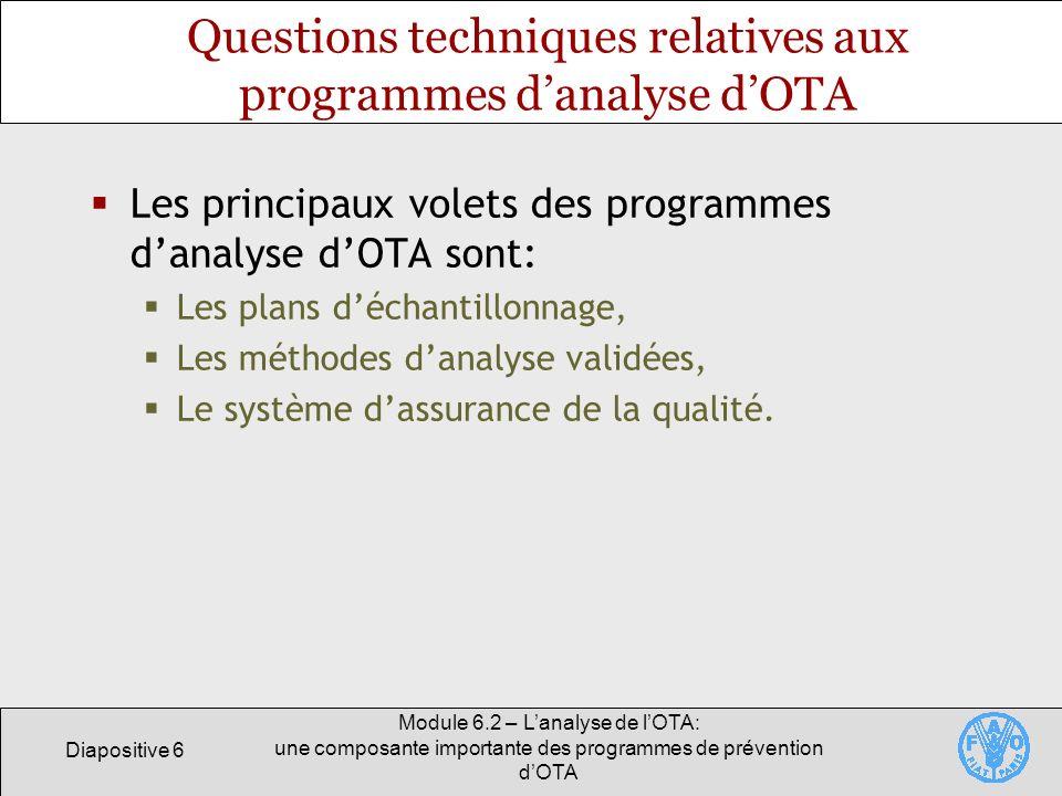Questions techniques relatives aux programmes d'analyse d'OTA
