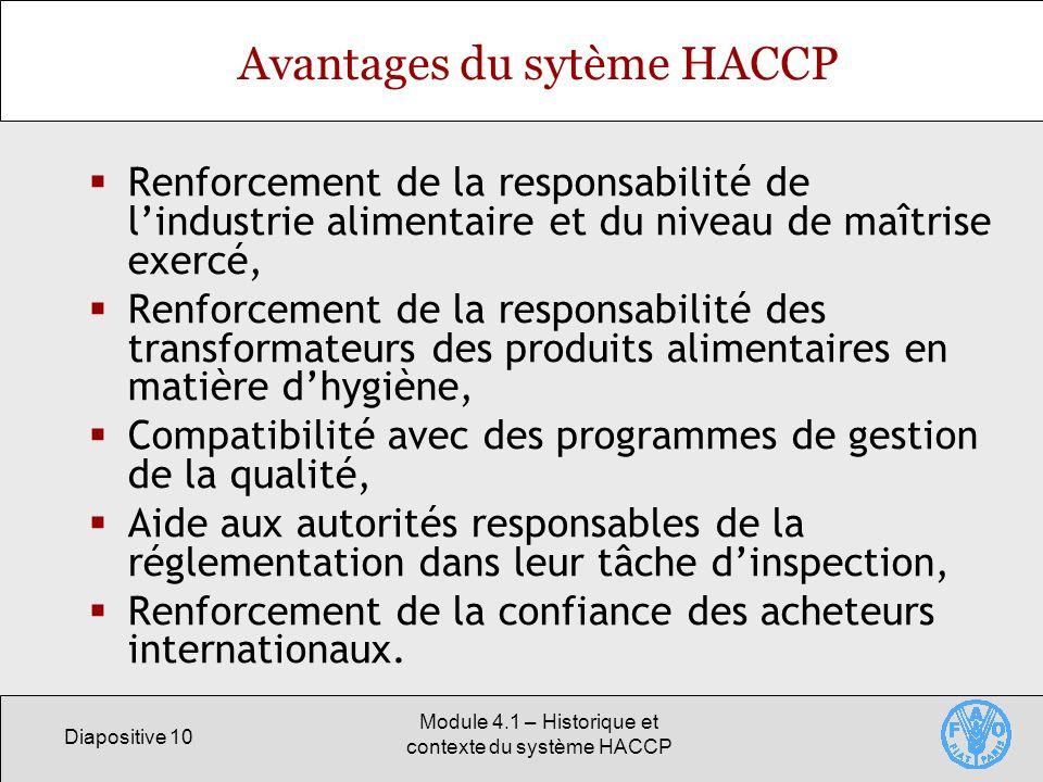 Avantages du sytème HACCP