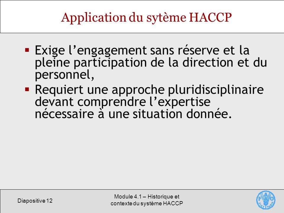 Application du sytème HACCP