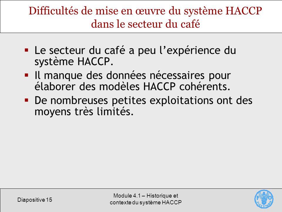 Difficultés de mise en œuvre du système HACCP dans le secteur du café