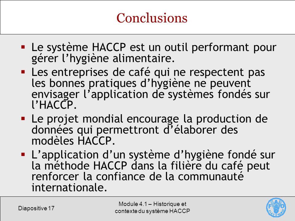 Module 4.1 – Historique et contexte du système HACCP