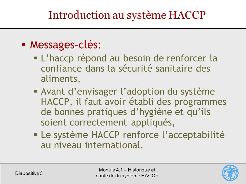 Introduction au système HACCP