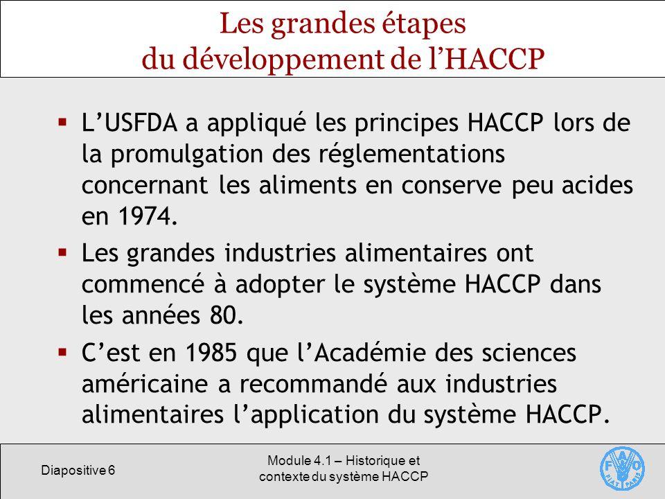 Les grandes étapes du développement de l'HACCP