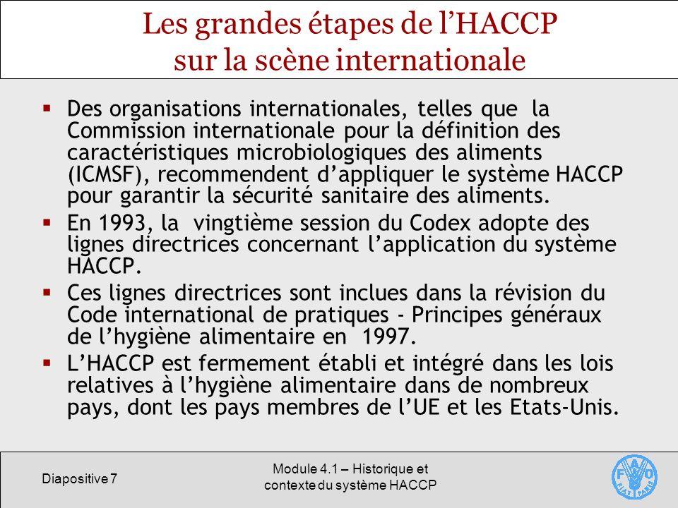 Les grandes étapes de l'HACCP sur la scène internationale