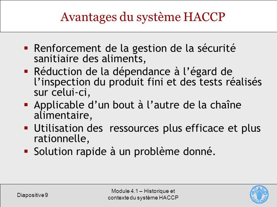 Avantages du système HACCP