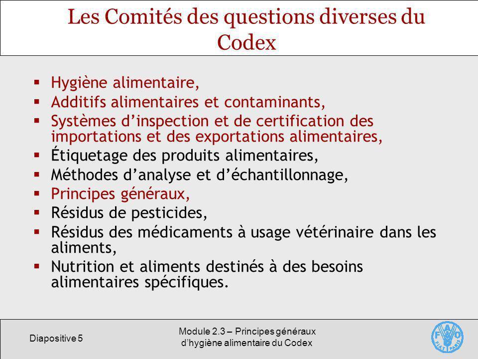 Les Comités des questions diverses du Codex