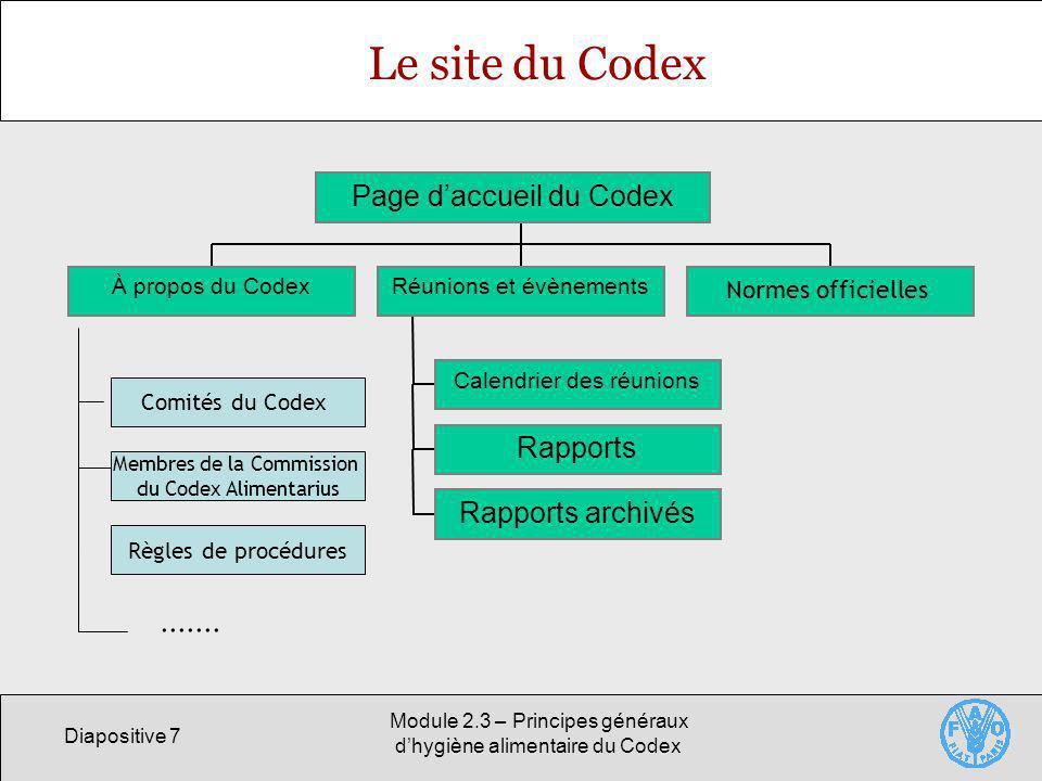 Le site du Codex ....... Page d'accueil du Codex Rapports