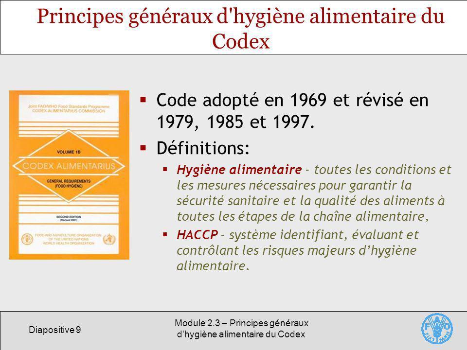 Principes généraux d hygiène alimentaire du Codex