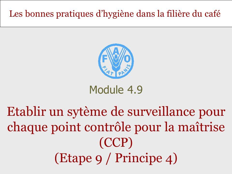 Module 4.9 Etablir un sytème de surveillance pour chaque point contrôle pour la maîtrise (CCP) (Etape 9 / Principe 4)