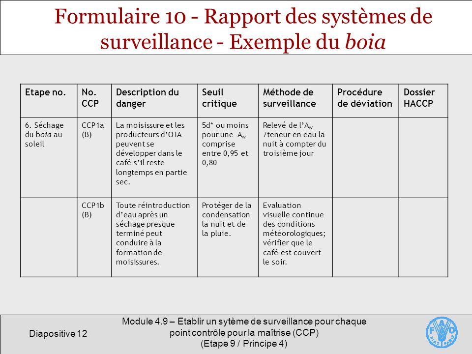 Formulaire 10 - Rapport des systèmes de surveillance - Exemple du boia
