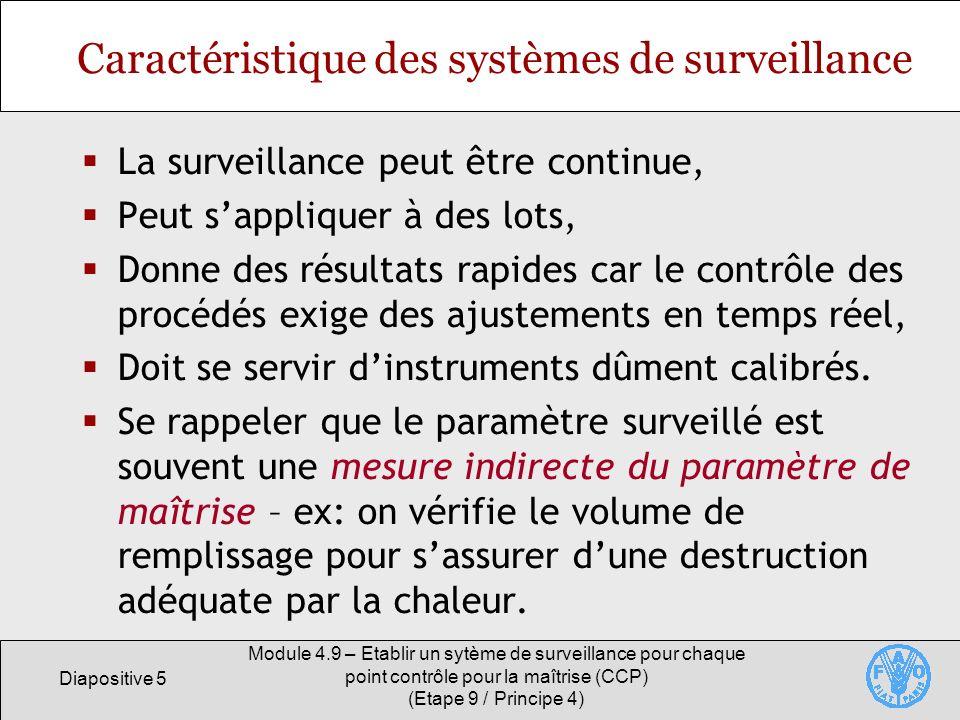 Caractéristique des systèmes de surveillance