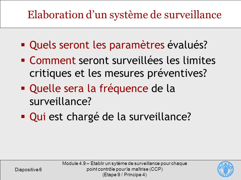 Elaboration d'un système de surveillance