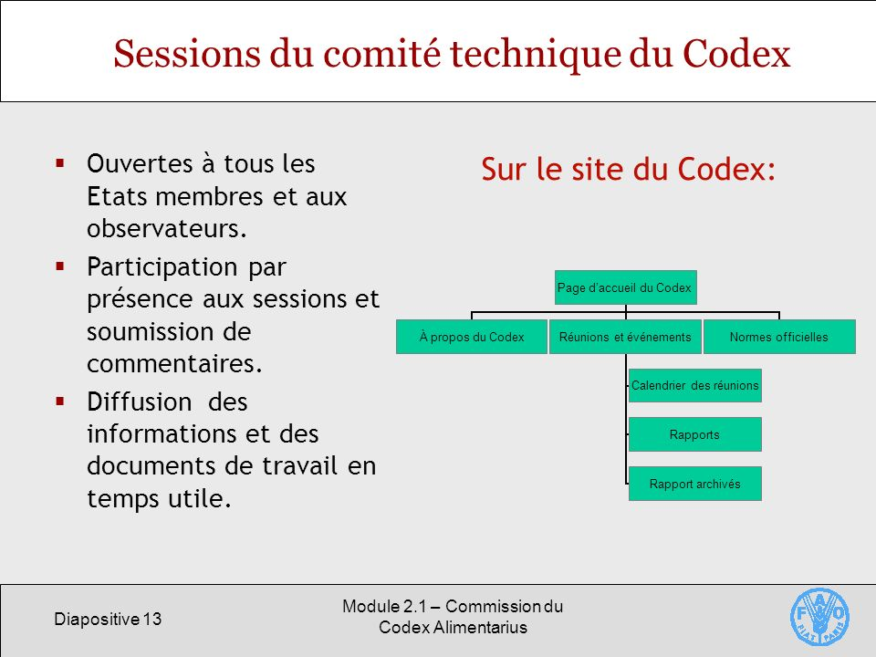 Sessions du comité technique du Codex