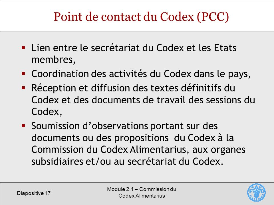 Point de contact du Codex (PCC)
