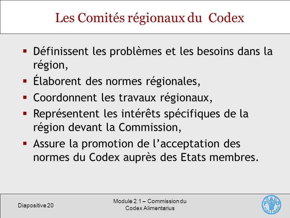 Les Comités régionaux du Codex