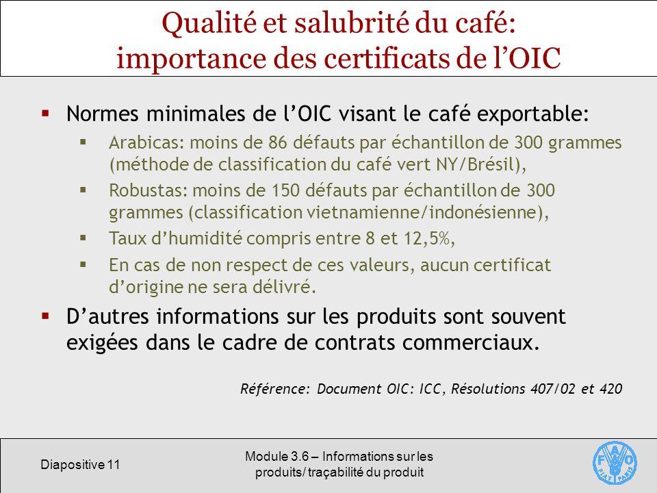 Qualité et salubrité du café: importance des certificats de l'OIC