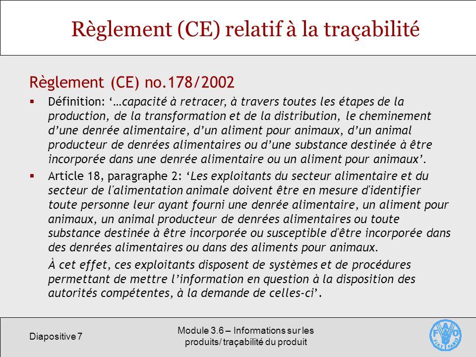 Règlement (CE) relatif à la traçabilité