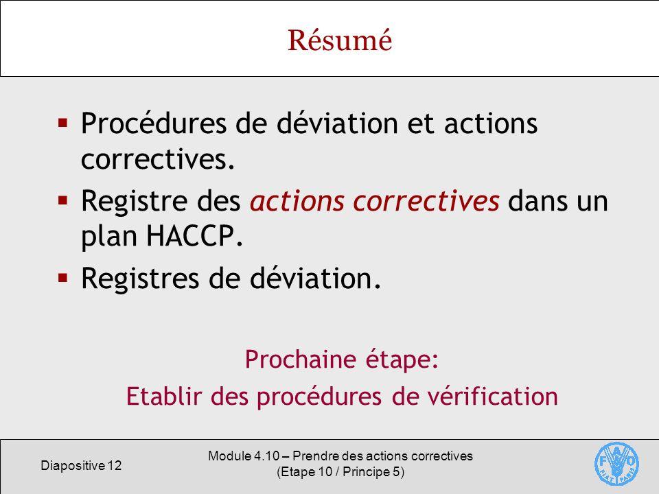 Procédures de déviation et actions correctives.