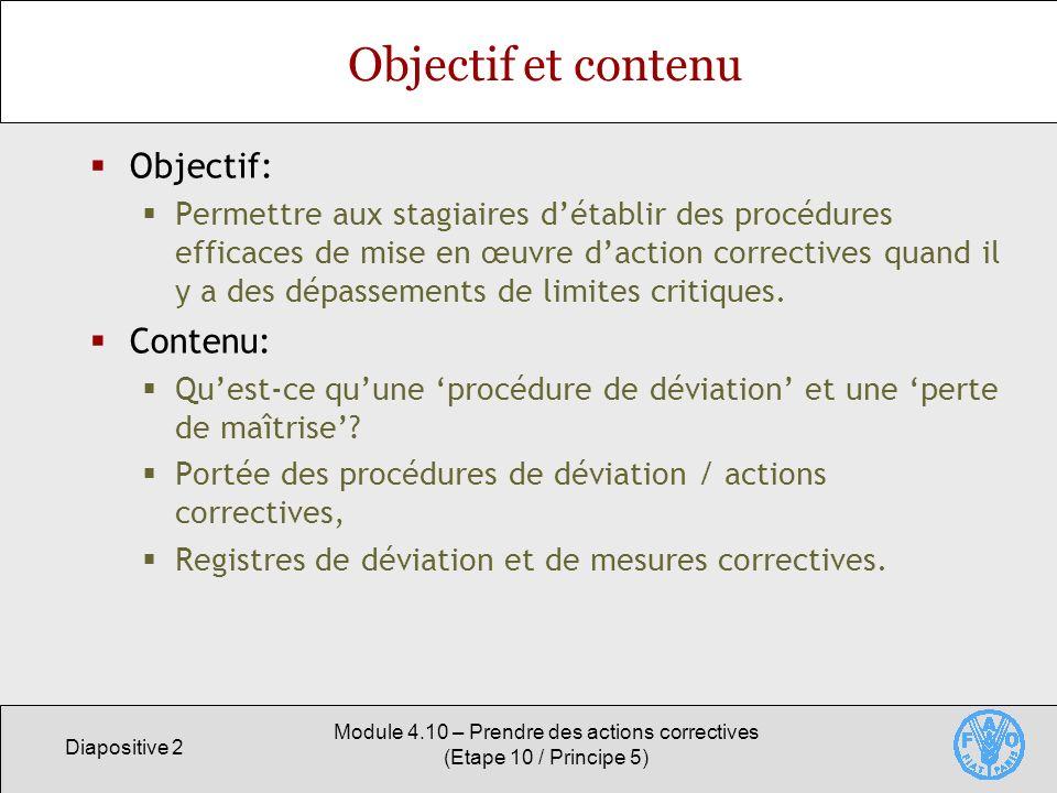Module 4.10 – Prendre des actions correctives (Etape 10 / Principe 5)