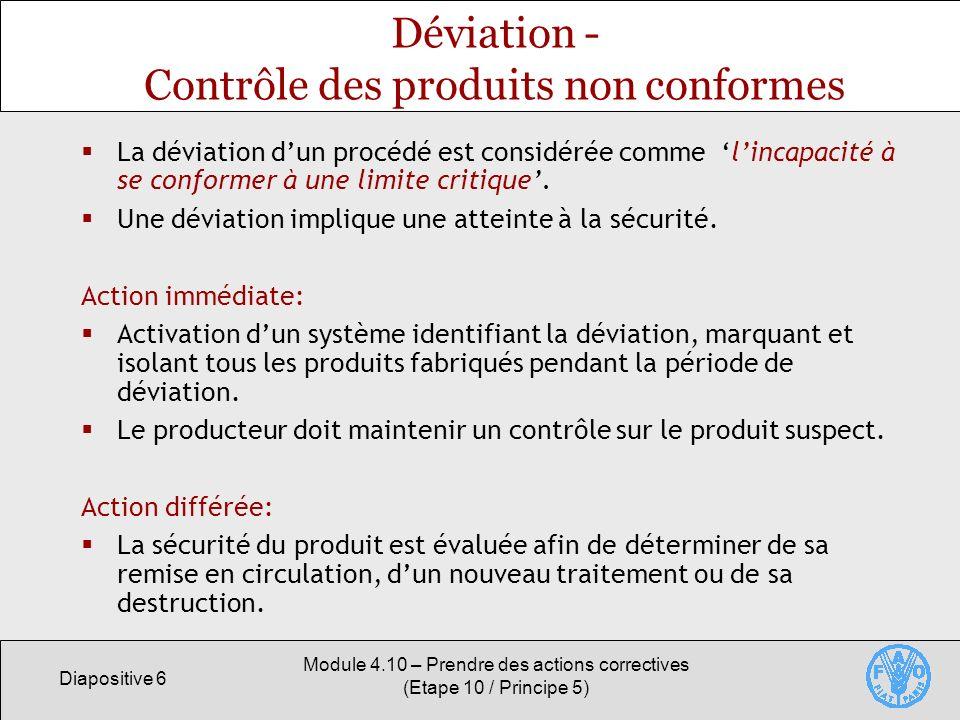 Déviation - Contrôle des produits non conformes