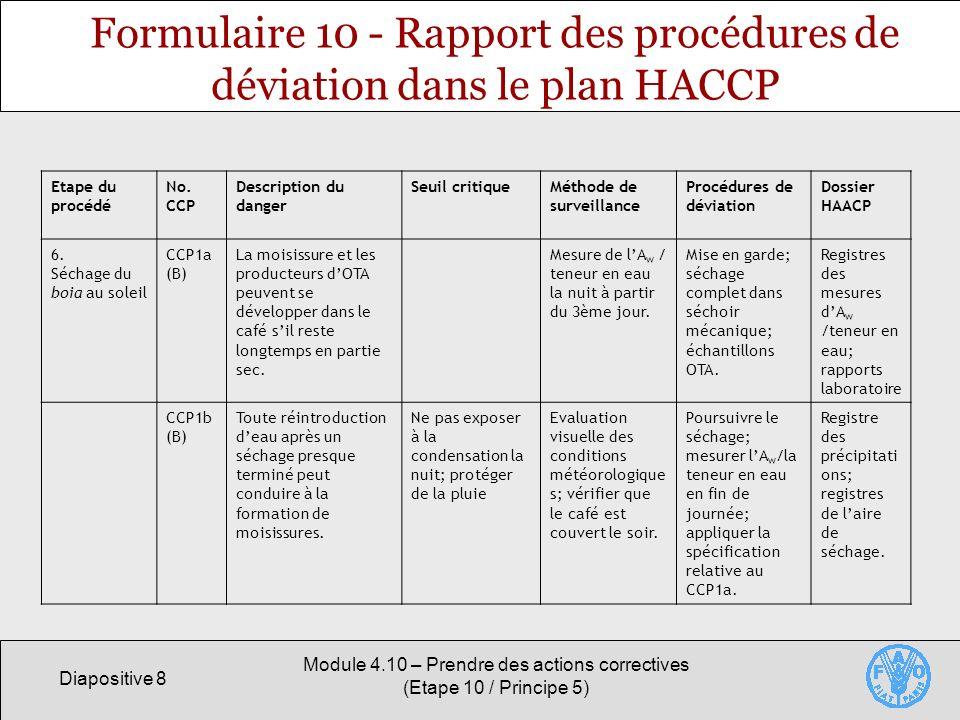 Formulaire 10 - Rapport des procédures de déviation dans le plan HACCP