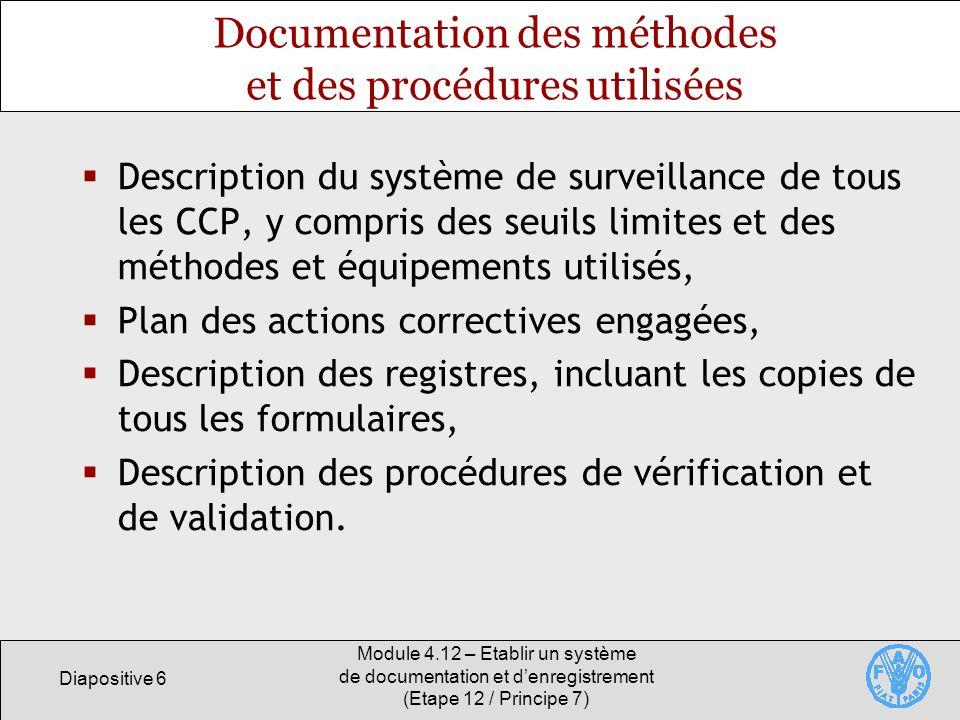 Documentation des méthodes et des procédures utilisées