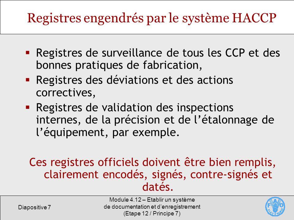 Registres engendrés par le système HACCP