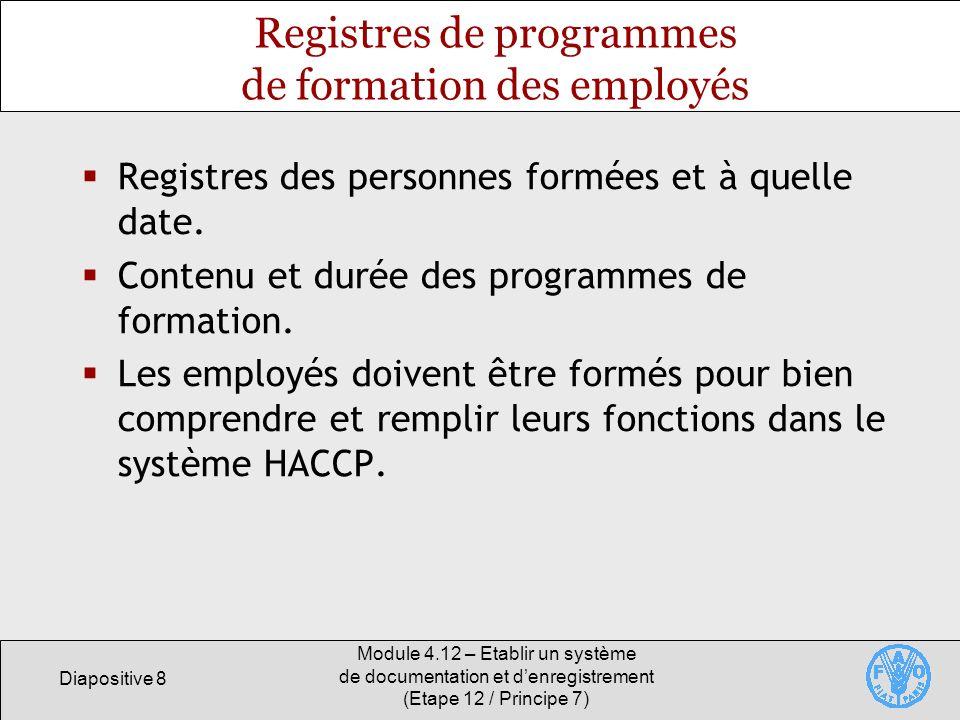 Registres de programmes de formation des employés