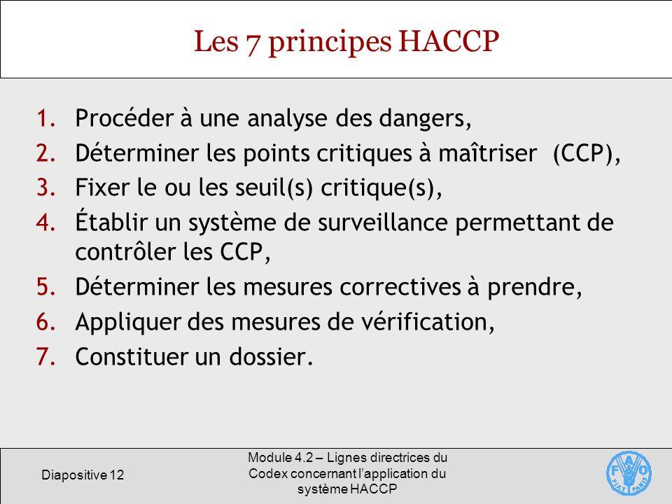 Les 7 principes HACCP Procéder à une analyse des dangers,
