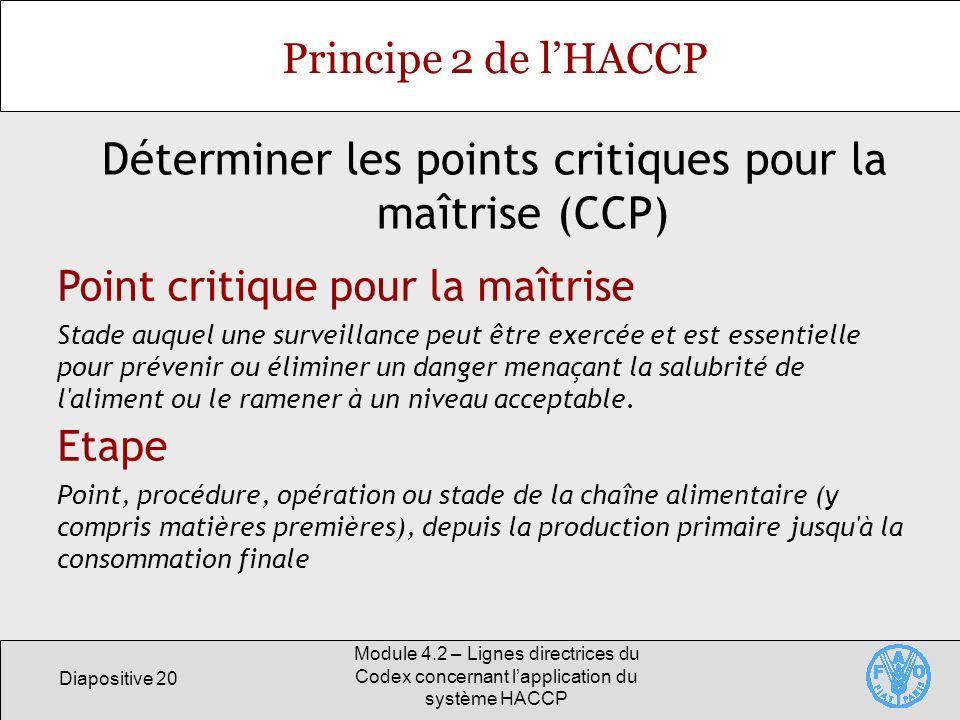 Déterminer les points critiques pour la maîtrise (CCP)