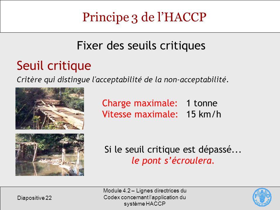 Principe 3 de l'HACCP Seuil critique Fixer des seuils critiques