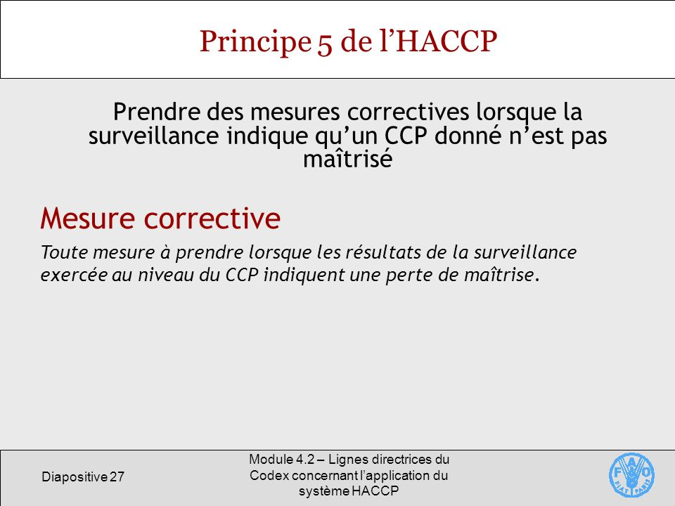 Principe 5 de l'HACCP Mesure corrective