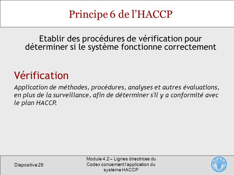 Principe 6 de l'HACCP Vérification