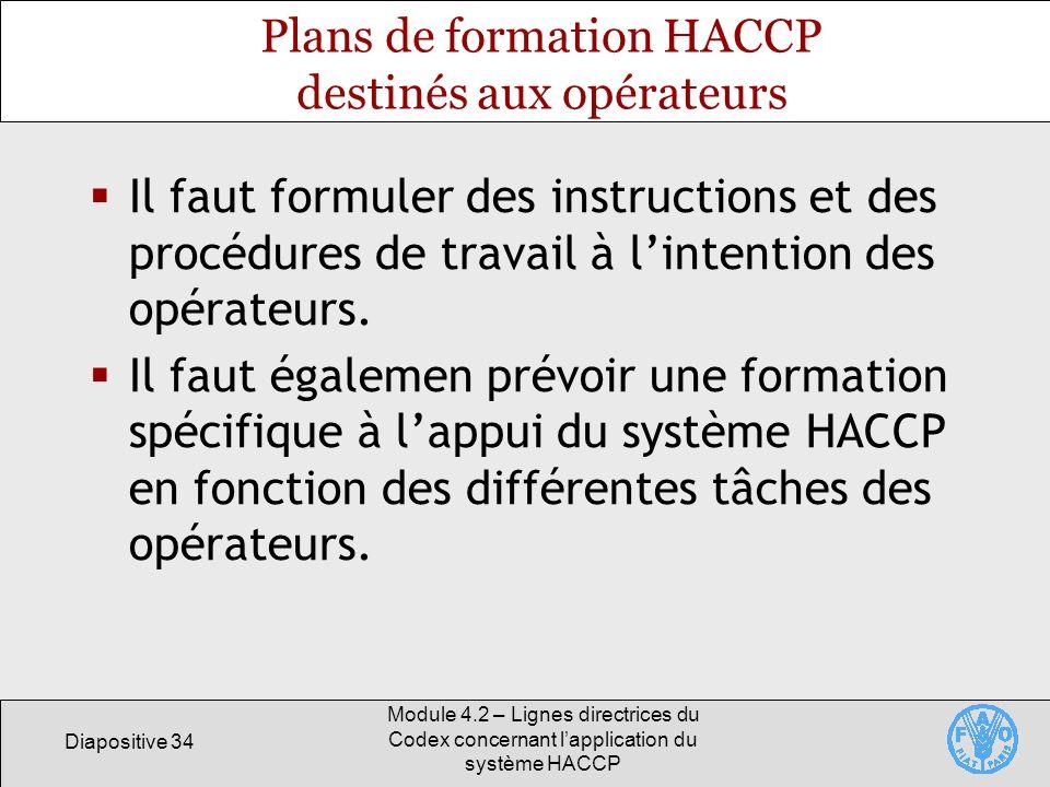 Plans de formation HACCP destinés aux opérateurs