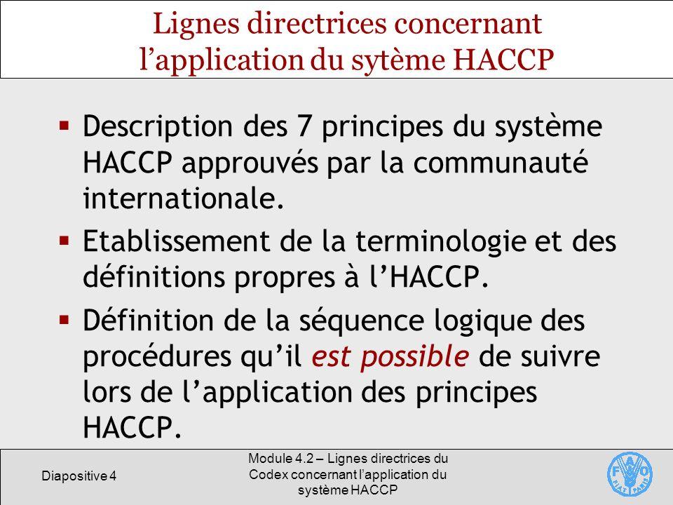 Lignes directrices concernant l'application du sytème HACCP